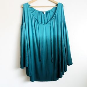 Dip dyed cold shoulder tunic
